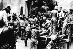 Japanese begin to move American and Filipino POWs from Corregidor in May of 1942. NARA photo.