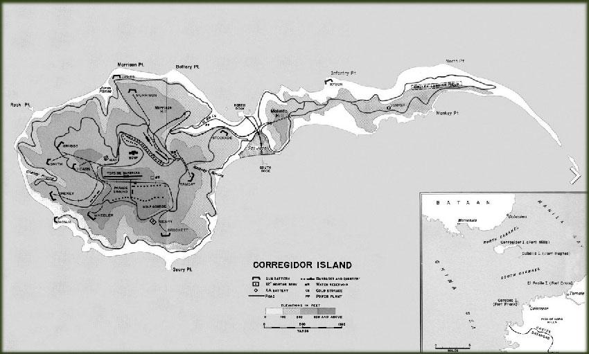 Map of Corregidor, Phillilpines, 1941